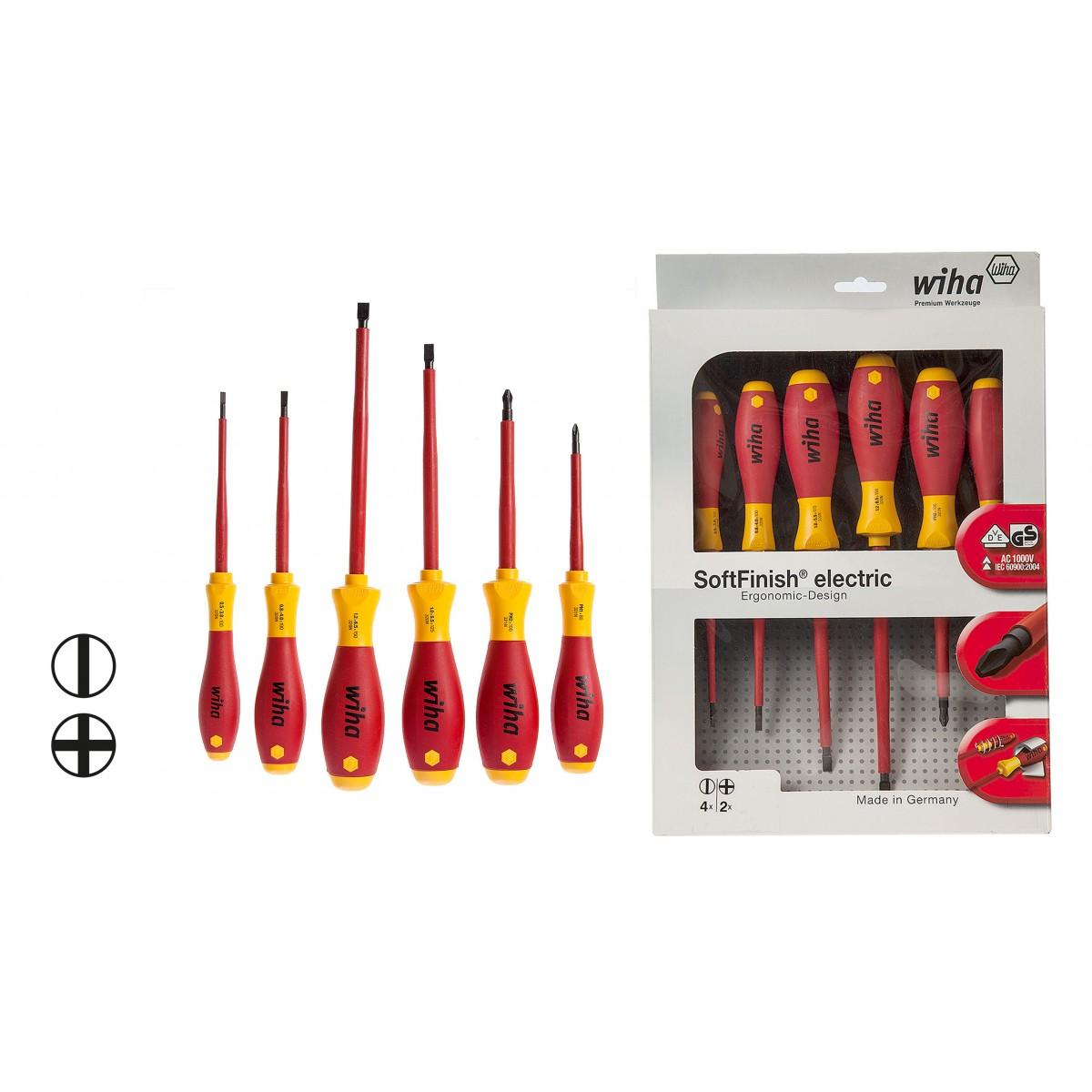 wiha 320nsf k6 softfinish electric slotted phillips screwdriver set 00833 vde screwdrivers. Black Bedroom Furniture Sets. Home Design Ideas