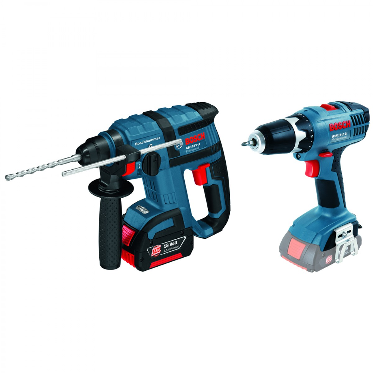 bosch li ion 18v combo kit set gbh18v li gsr18 2li cordless power tools products. Black Bedroom Furniture Sets. Home Design Ideas